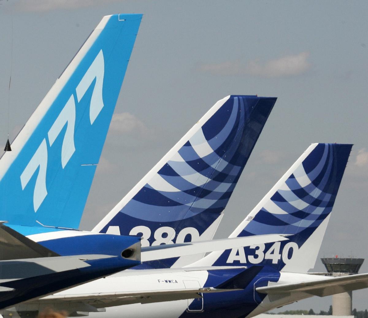 A tail of the 777, A380 and A340 at the Paris Air Show in 2005. Photo: Getty