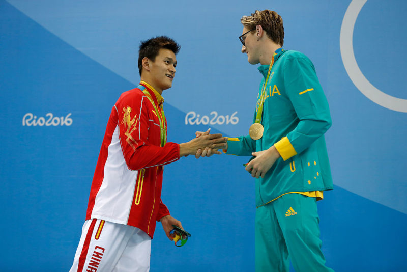 Horton shakes hands with arch rival Sun Yang.