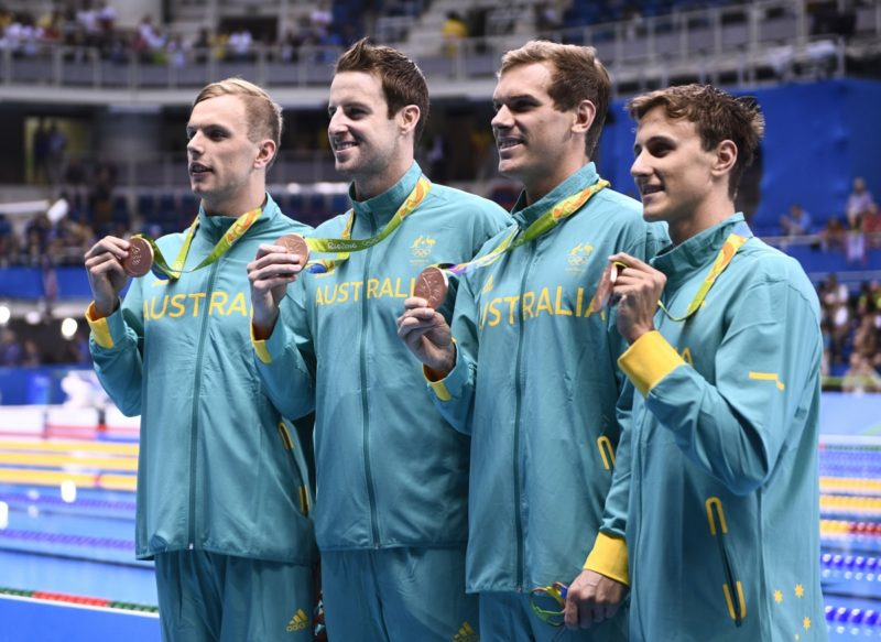 Australia's Kyle Chalmers, James Magnussen, James Roberts Cameron McEvoy pose with their bronze medals. Photo: Getty