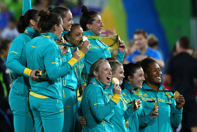 The Pearls celebrate their gold medal success in Rio.