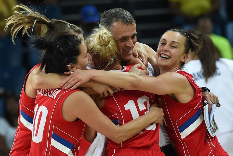 Serbia are all smiles after their surprise win.