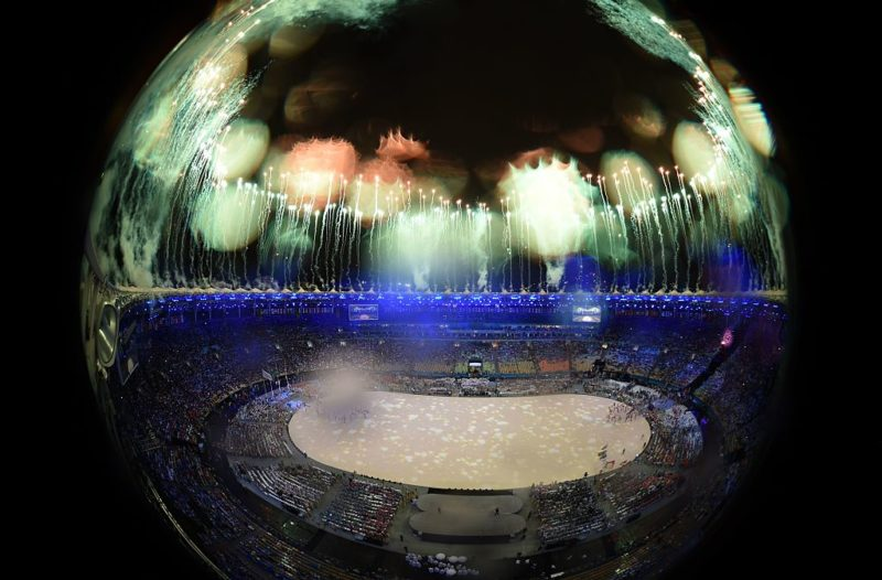 This picture shows an overview of fireworks during the closing ceremony of the Rio 2016 Olympic Games at the Maracana stadium in Rio de Janeiro on August 21, 2016. / AFP / Antonin THUILLIER (Photo credit should read ANTONIN THUILLIER/AFP/Getty Images)