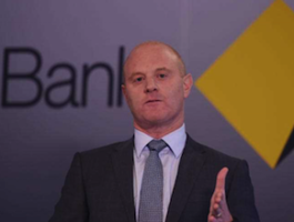 Commonwealth Bank boss Ian Narev announcing a record profit. Photo: AAP.
