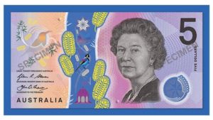Basic design artwork for the signature side of the new Australian $5 banknote. Photo: Supplied/ABC