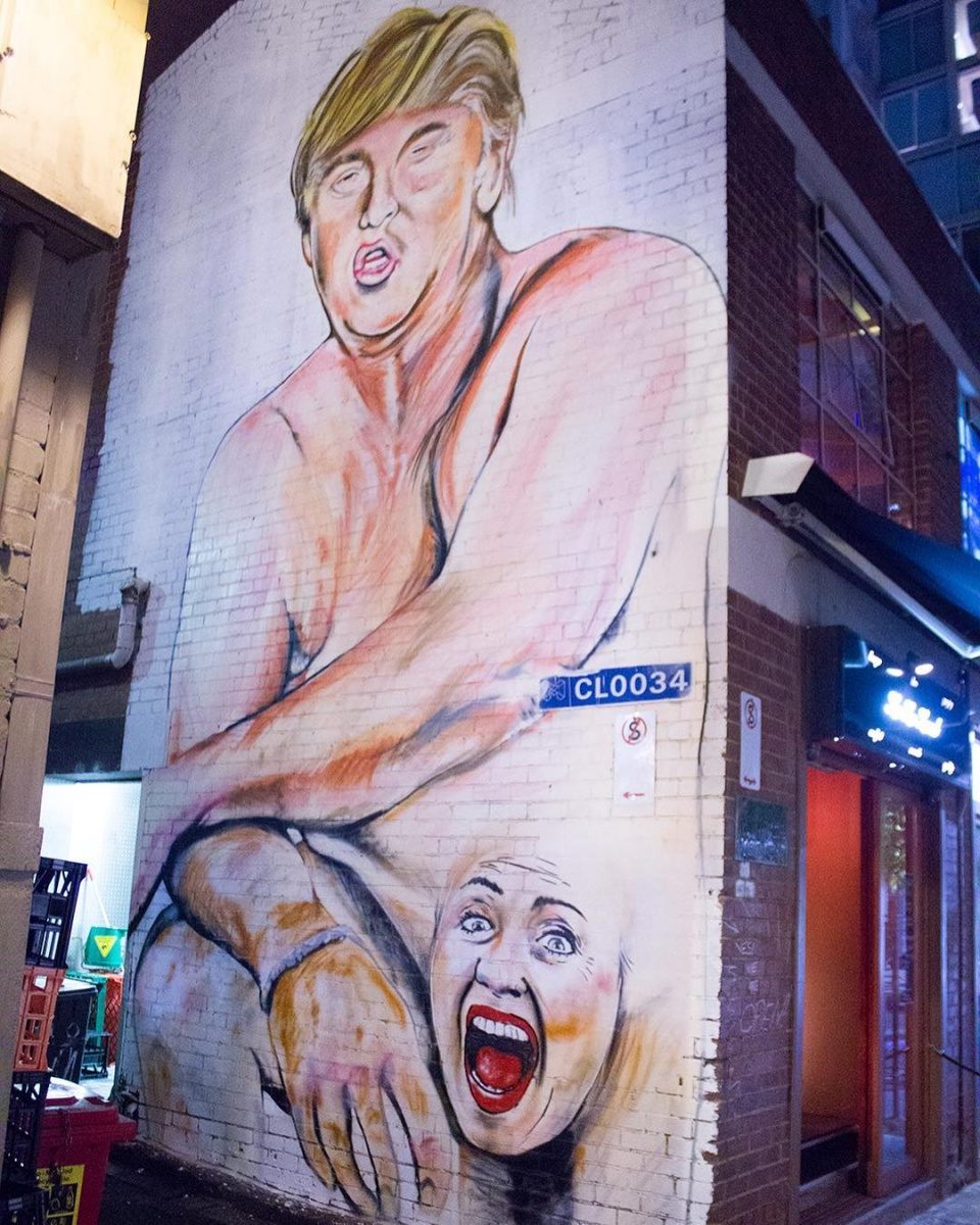 Artist covers Hillary Clinton swimsuit mural with burqa ...