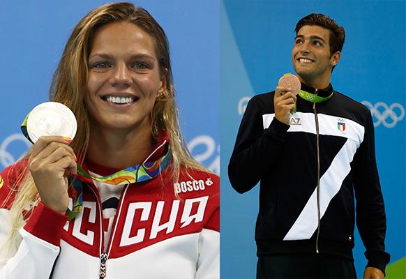 L-R: Russian swimmer Yuliya Efimova and Italian swimmer Gabriele Detti.