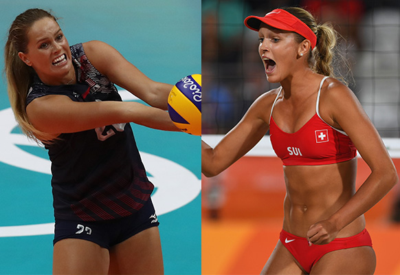 American indoor volleyball player Kelsey Robinson (left) and Swiss beach volleyball player Anouk Verge-Depre both regularly attract magazine features and modelling opportunities. Photo: Getty