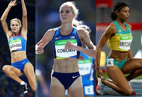 L-R: Russian long jumper Darya Klishina, American runner Emma Coburn and Australian sprinter Morgan Mitchell. Photo: Getty