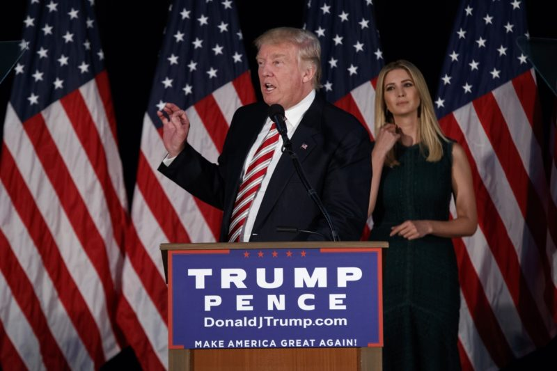 Donald Trump and daughter Ivanka giving a speech on his childcare policy. Photo: AAP.
