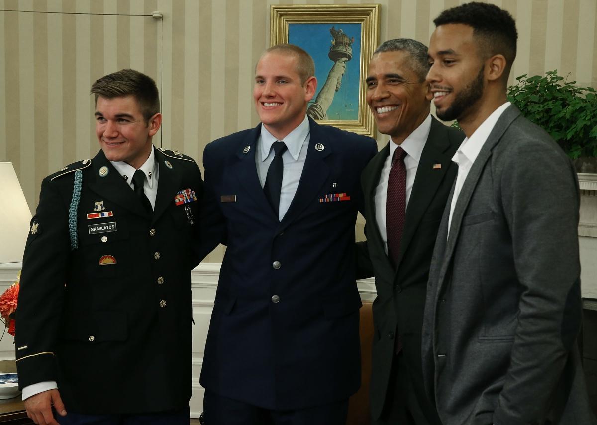 President Barack Obama with (from left) Alek Skarlatos, Spencer Stone and Anthony Sadler. Photo: Getty