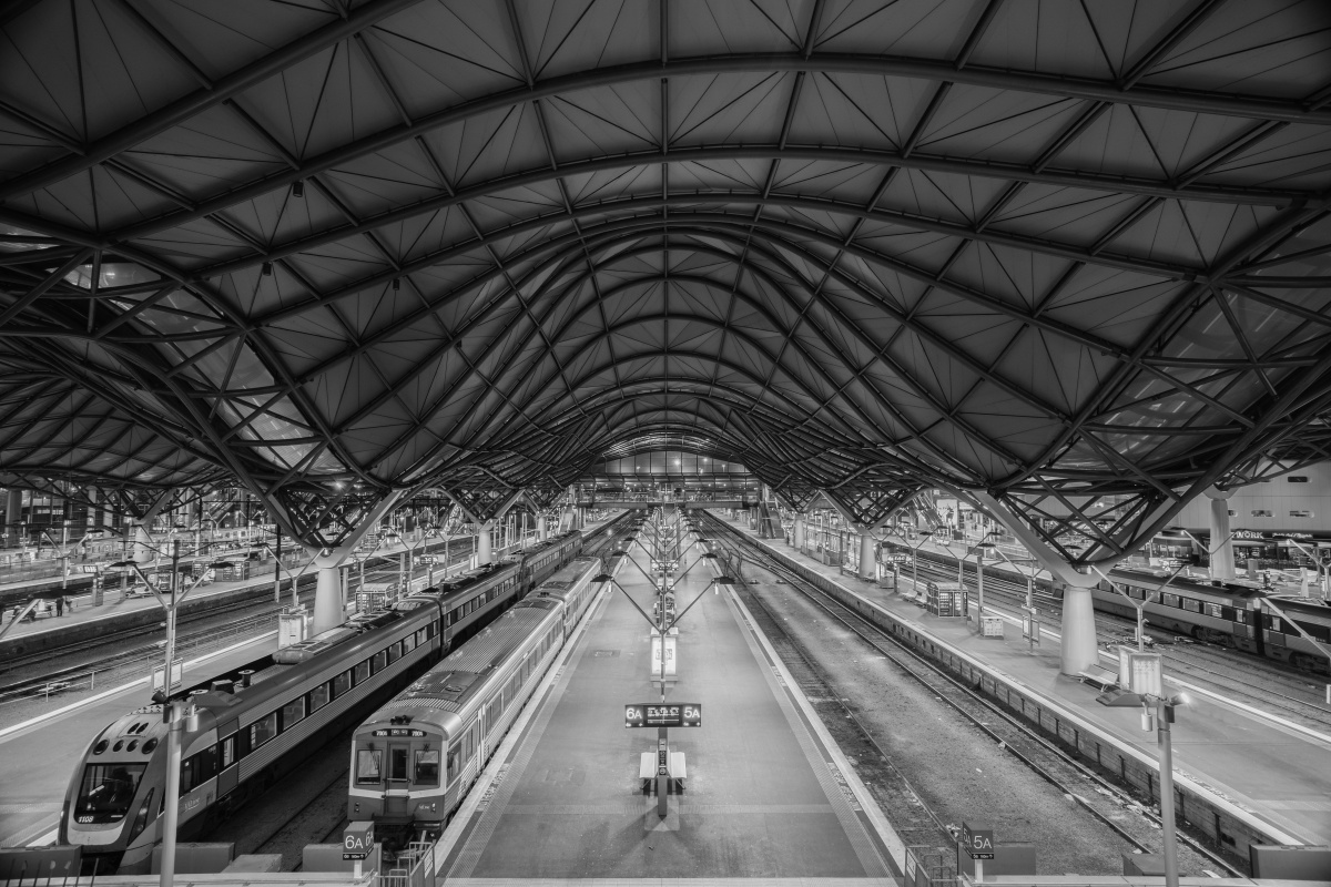 The iconic 'wave roof' at Southern Cross Station, Melbourne