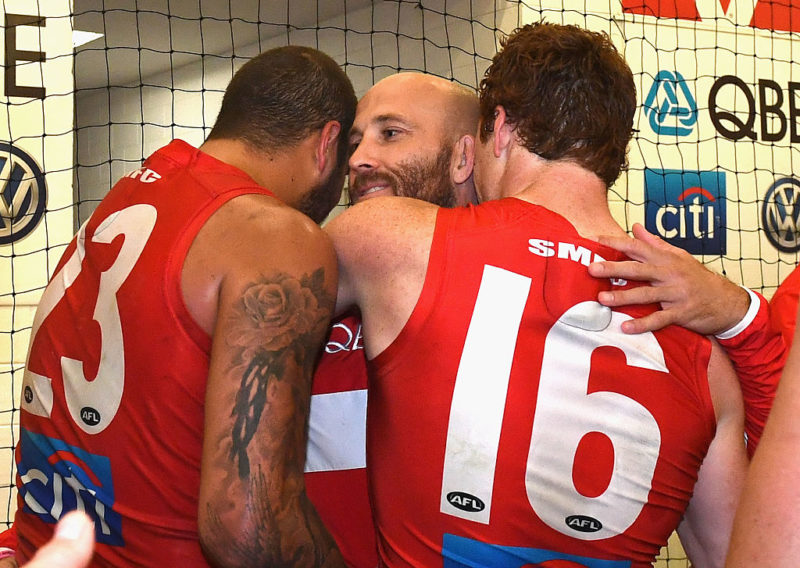 Co-captain Jarrad McVeigh, with Lance Franklin and Gary Rohan, is Sydney's most experienced player.