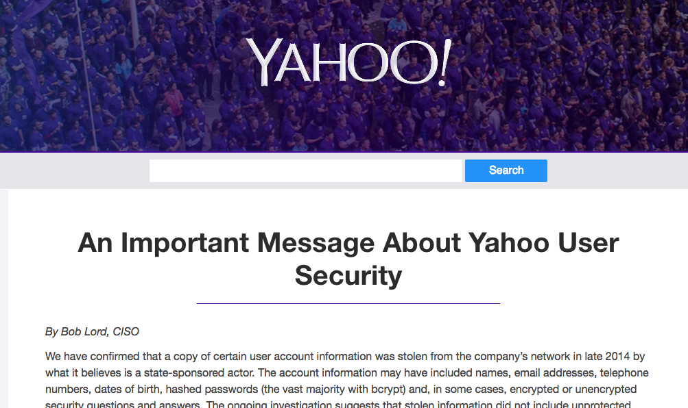 Yahoo! hack impacts 500 million user accounts