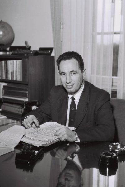 Peres, pictured in 1963, served twice as the Prime Minister of Israel.