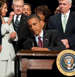 US president Barack Obama signed the Dodd-Frank Act into law in 2010. Photo: Getty