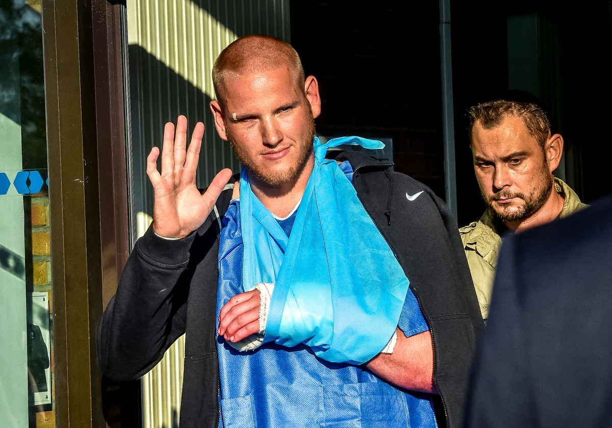 Spencer Stone leaves a hospital in France after sustaining injuries in the thwarted attack. Photo: Getty