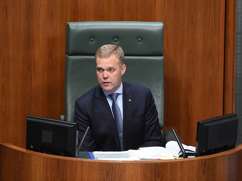 Speaker Tony Smith during a third division after the government lost two divisions in the House of Representatives at Parliament House in Canberra, Thursday, Sept. 1, 2016. (AAP Image/Mick Tsikas) NO ARCHIVING