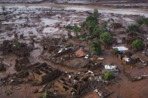 Homes lay in ruins after the burst dam flooded the small town of Bento Rodrigues.