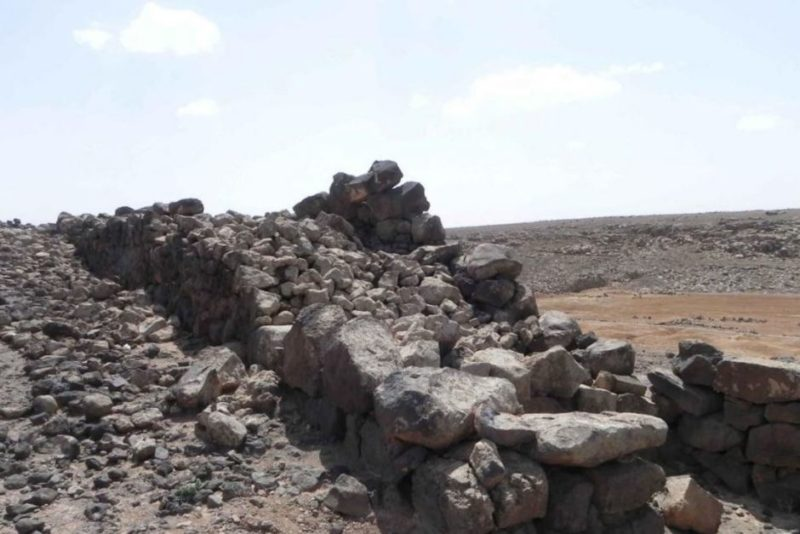 A section of an ancient, double-face fortification wall discovered in Jawa, one of the fortified sites.