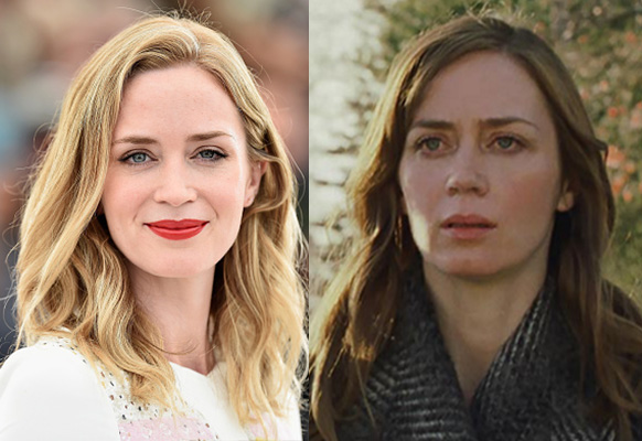 Emily Blunt in real life (left) and in The Girl on the Train. Photo: Getty/Universal