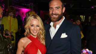 Kylie Minogue (L) and Joshua Sasse at the World Premiere after party of Absolutely Fabulous: The Movie.