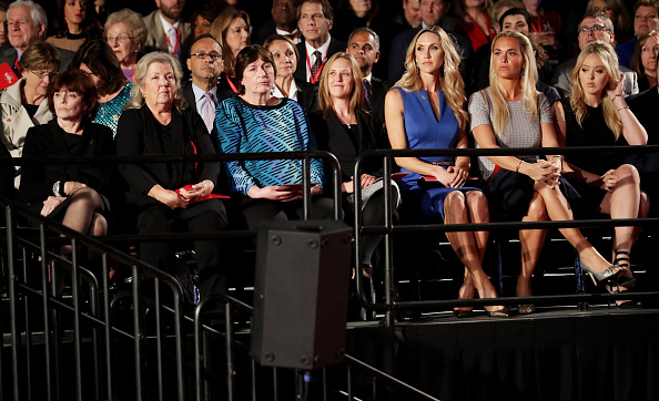 Kathleen Willey, Juanita Broaddrick and Kathy Shelton sit with Donald Trump's daughters. Photo: Getty