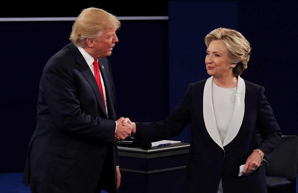 Mr Trump and Ms Clinton in one of their more civilised moments. Photo: AAP