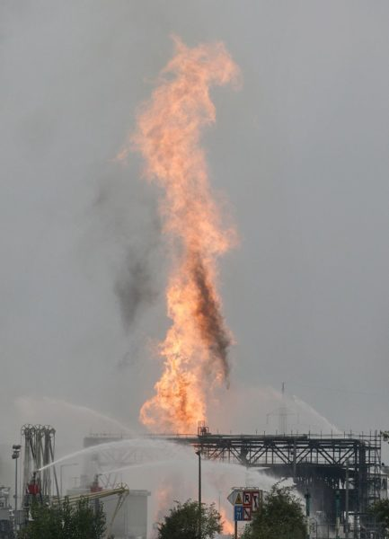 Flames at the BASF site in Ludwigshafen, Germany. Photo: Getty.,