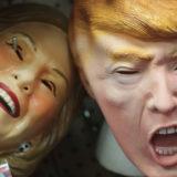 Hillary Clinton and Donald Trump masks