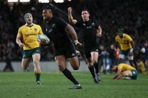 All Black Julian Savea runs in for a try during the record-breaking Bledisloe Cup win over the Wallabies at Eden Park.