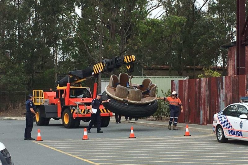 Police have been removing rafts from the Thunder River Rapids ride as part of their investigation.