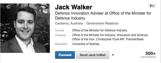 Walker's profile on the employment website, LinkedIn. Photo: LinkedIn
