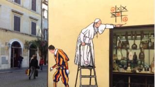 Mauro Pallotta graffiti pope