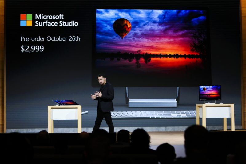 Microsoft's Panos Panay unveils the Surface Studio in New York.