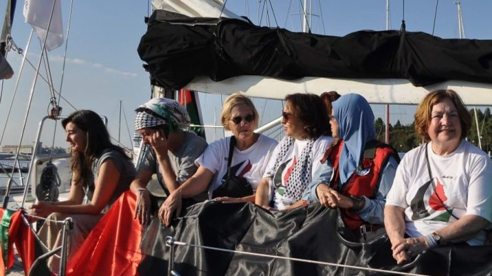 Pro–Palestine female activists on board the Zaytouna–Oliva, pictured in September.