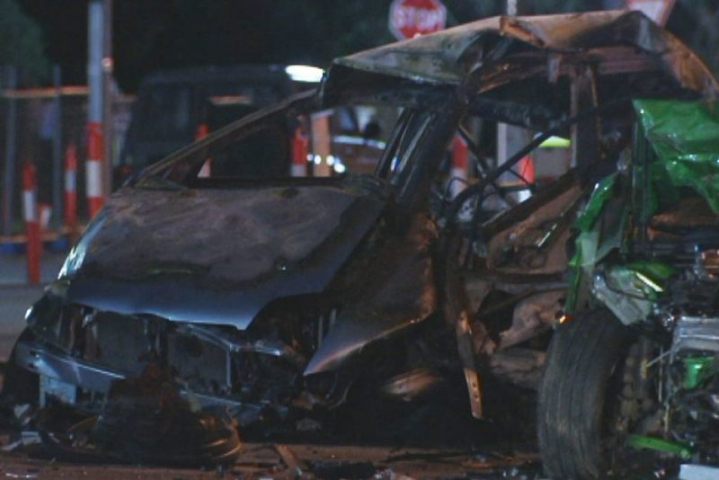 At least one of the cars exploded into flames . Photo: ABC News.