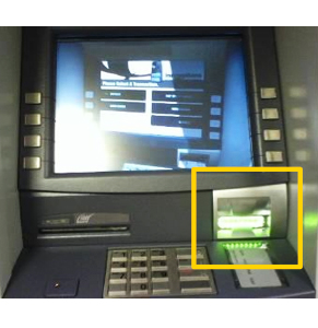 Most skimming devices will obscure the ATM's flashing card slot. Photo: Commonwealth Bank