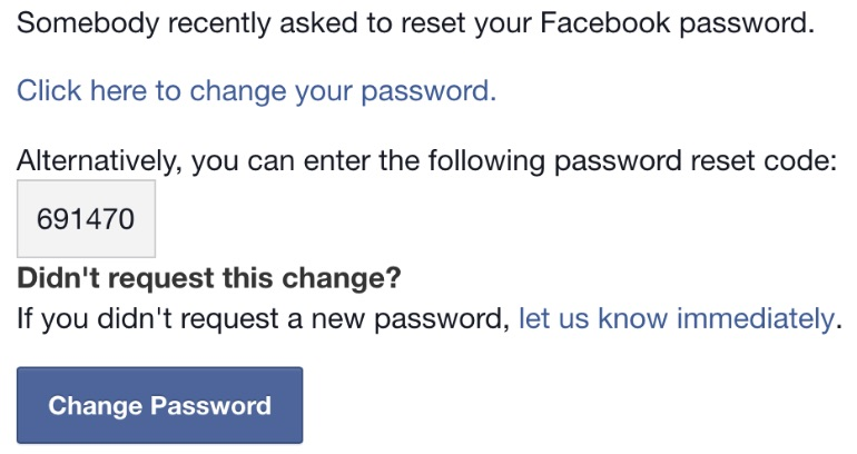A fake Facebook email asking you to reset your password.