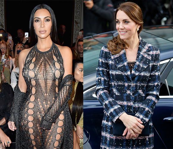 Most women would prefer to swap wardrobes with Kate Middleton (right) than Kim Kardashian (left). Photo: Getty