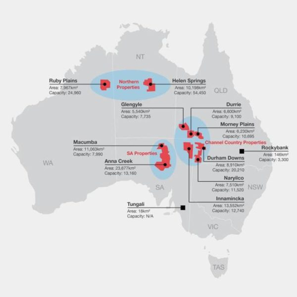 S. Kidman and Co's cattle stations are spread out over 101,000 square kilometres of central Australia.