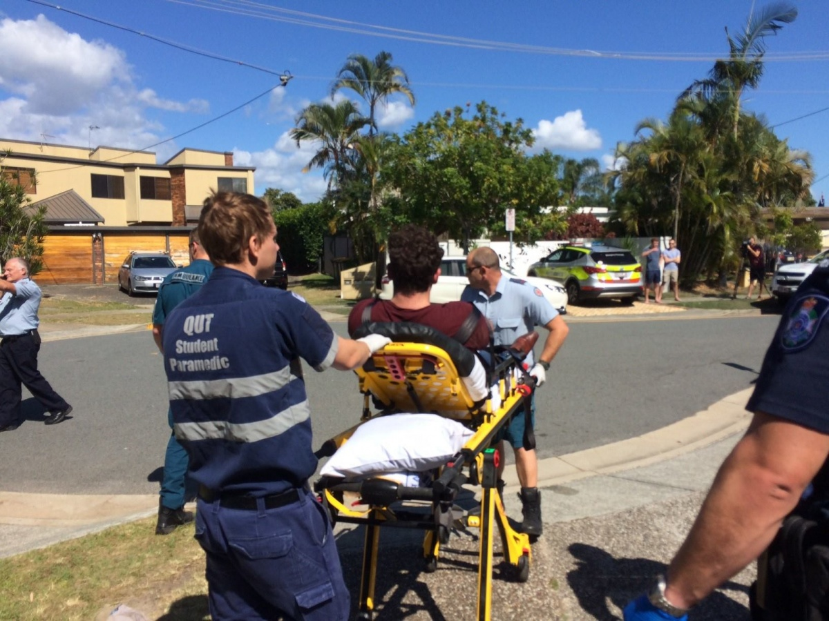 An overdose patient is rushed to hospital on Sunday morning. Photo: QAS