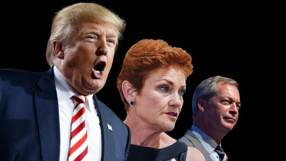 Donald Trump (USA), Pauline Hanson (Australia) and Nigel Farage (Brexit). Picture: The New Daily