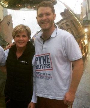 Walker with Foreign Minister Julie Bishop. Photo: Instagram
