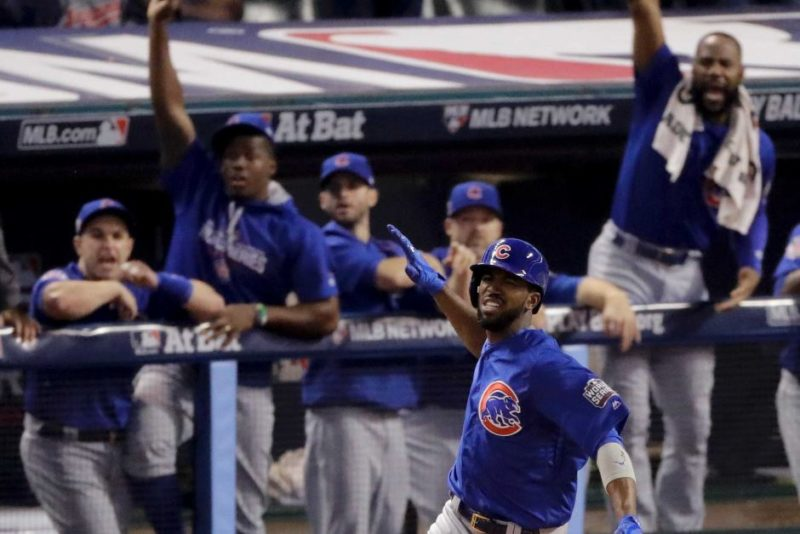 The Cubs' Dexter Fowler led off Game Seven with a home run off Cleveland Indians pitcher Corey Kluber.