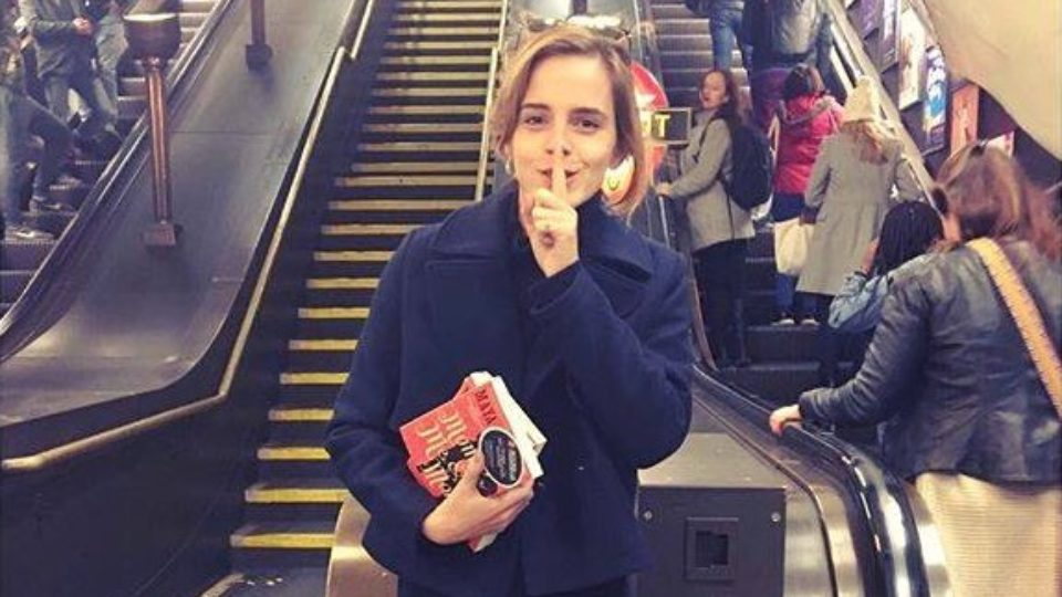 Emma Watson shocks commuters by hiding books on the London tube