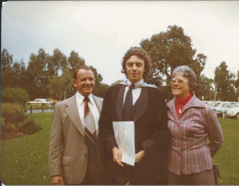 Carney and his parents at his graduation.