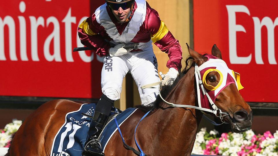 Brenton Avdulla riding Lasqueti Spirit wins the Oaks at Flemington.
