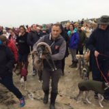 Mark Woods and Walnut were joined by hundreds of dog walkers