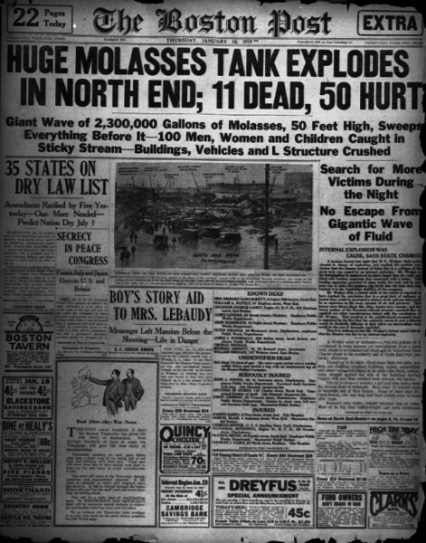 Boston Post Great Molasses Flood coverage