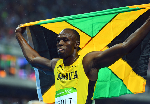Bolt celebrates a Rio success.